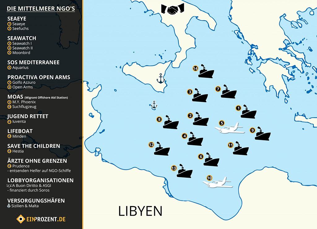 Karte: Die Schlepper-NGO's